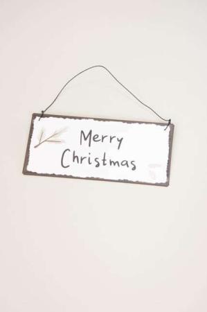 Metalskilt med tekst - Merry Christmas - Skilt til ophæng