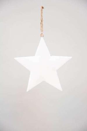 Metalstjerne til ophæng - Hvid metalstjerne med jutesnor - Juletræspynt 2021