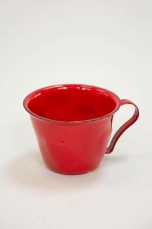 Rød julekop - Rød kop i metal - Metalkop til dekortion