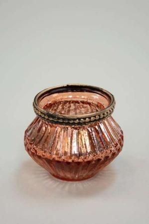 Rosa fyrfadsglas - Fyrfadsstage med sølv