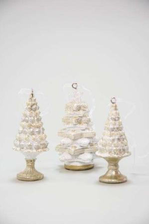 Slik juletræer til ophæng - Juletræer med guldglimmer