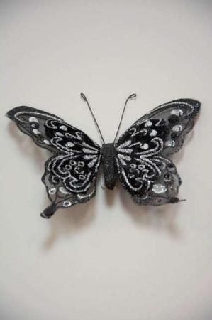 Sommerfugl på clips - Sommerfugl stor med glimmer - Sommerfugl sort