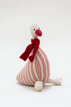 Stribet julegås med halstørklæde