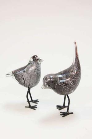 Dansk glaskunst - Glasfugl med sorte ben - Sort og sølv glasfugl