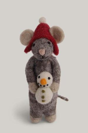 Én Gry og Sif - Julemus med snemand - Julepynt af filt