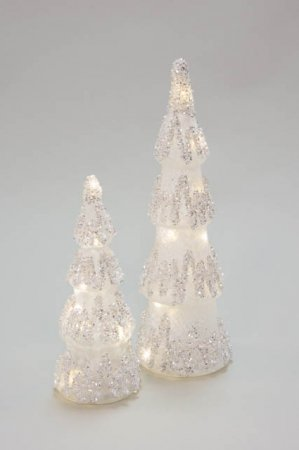 Juletræer af glas med LED - JUlepynt 2021 - Glasjuletræ med lys