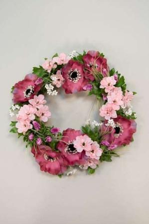 Krans f sommerblomster - Kunstig blomsterkrans i lilla farver