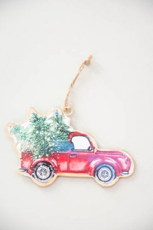 Metal ornament til ophæng - Julebil til ophæng - Juletræspynt