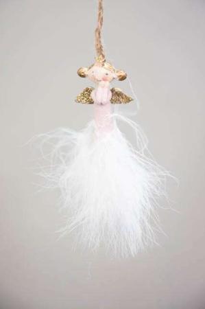 Rosa engel med fjer - Håndmalet engel med fjer