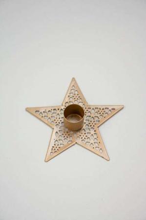 Stjerneformet lysestage i messinglook - Lysestage til bedelys - Stage til kronelys