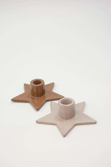 Stjerneformet lysestge - Lysestage i keramik - Julepynt 2021