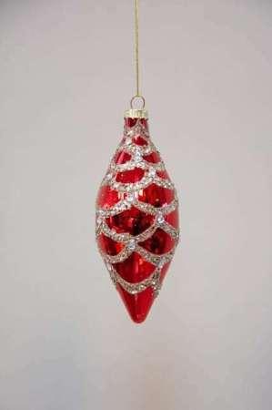 Aflang julekugle med glimmer - Rød aflang julekugle i glas med glimmer