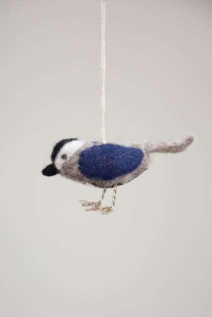 Blå fugl i filt - Én Gry og Sif - Pyntefigur filt