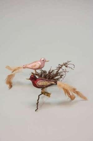 Bordeaux og rosa glasfugl på clips - Glasfugl på clips til juletræ