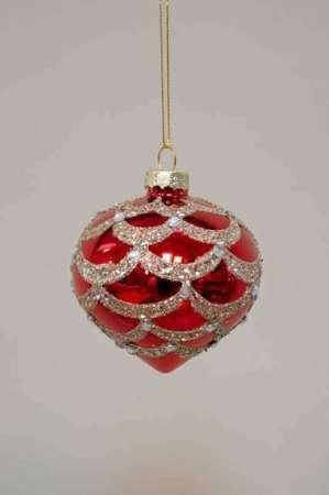 Buttet julekugle med glimmer - Julekugle buttet rød med glimmer