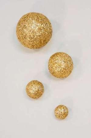 Dekorationskugle med guld glimmer - Glimmerkugle med guld look