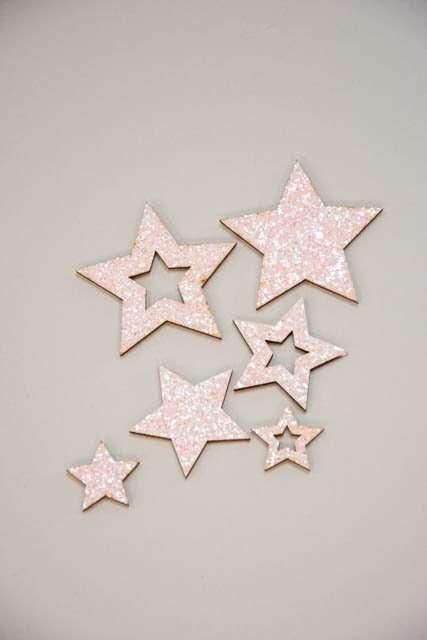 Dekorationsstjerner med glimmer - Stjerner til dekoration med glimmer