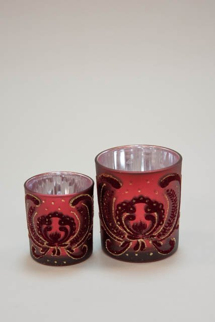 Fyrfadsglas med velour mønster - Fyrfadsstage i glas bordeaux - Julepynt 2021