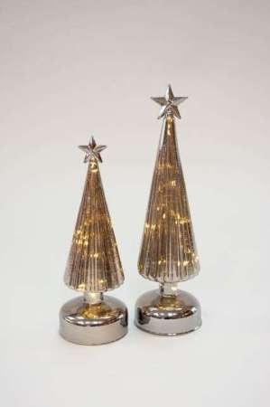 Glas juletræ med stjerne på toppen - Julepynt 2021 - LED lys i juletræ