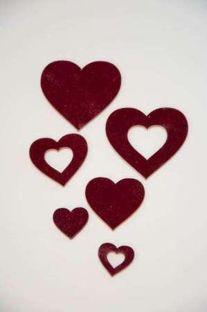 Hjerter med velour - Hjerter til dekoration