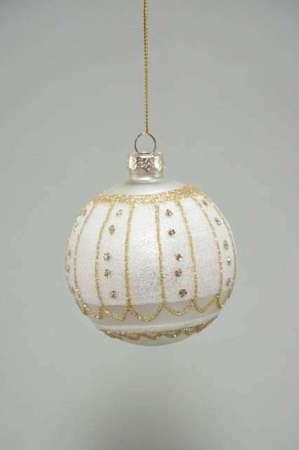 Hvid mat julekugle - Julekugle hvid med glimmer - Julekugle glas med guldglimmer