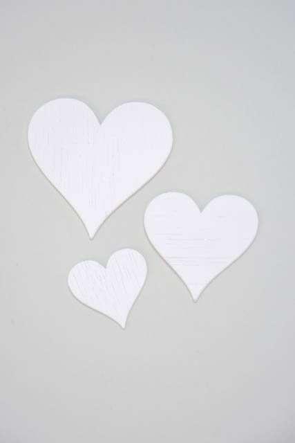 Hvide hjerter til dekoration - Hjerter i træ i hvid