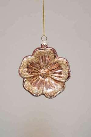 Julekugle blomst i rød med guld - Glas blomst julekugle til ophæng - Juletræspynt julekugle