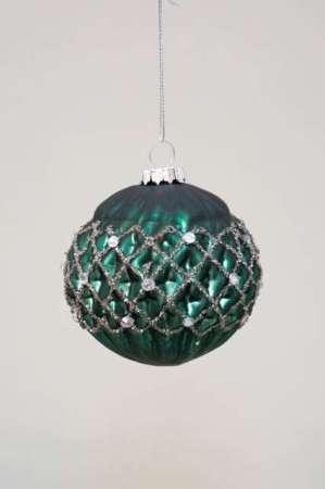 Julekugle glas med mønster grøn - Grøn glaskugle med bikubemønster og glimmer