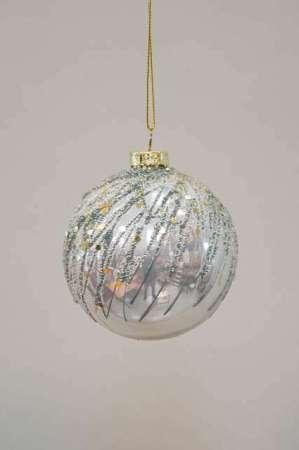 Julekugle grå med mønster og perler - Julekugle grå i glas