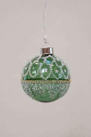 Julekugle grøn - Julekugle med perler til ophæng