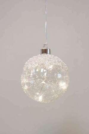 Julekugle med LED lys - Julekugle klar glas med perler - Julekugle til ophæng