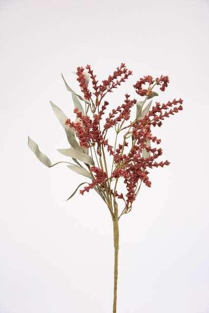 Kunstig gren med blomsterstand - Kunstig kviste med bordeaux blomsterstand