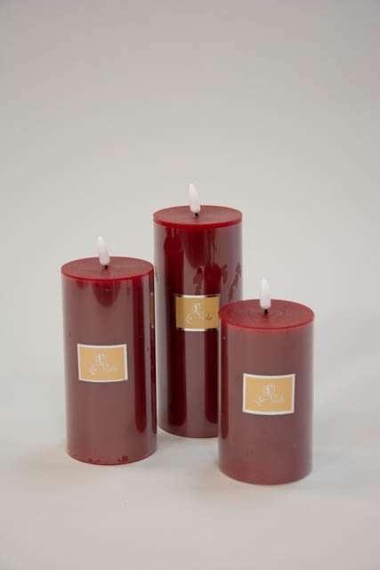 Rød LED bloklys Ø 7,4 cm - LED bloklys med statisk flamme rød