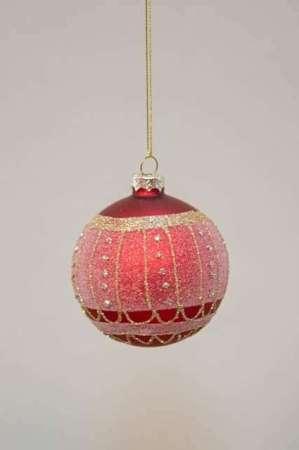 Rød julekugle glas med guldglimmer - Julekugle rød med similisten