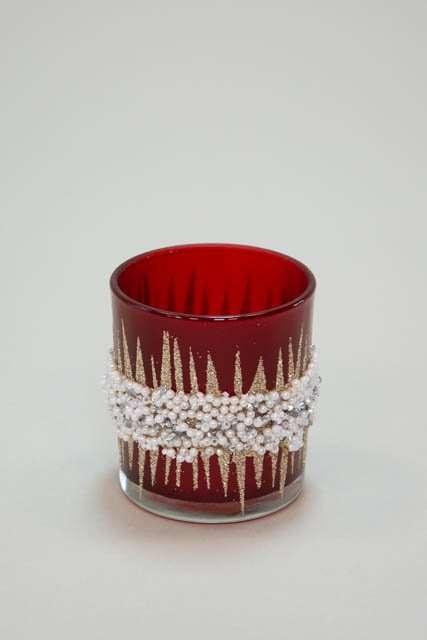 Rødt fyrfadsglas med perler - Fyrfadsstage med glimmer og perler - Julepynt 2021