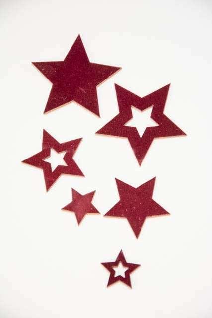 Stjerner med velour til dekoration - Dekorations stjerner i bordeaux
